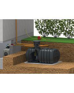 Symbol-Einbaubild Regenwasser-Flachtank 6000 Liter mit Haus- und Gartennutzung