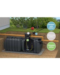 Symbol-Einbaubild Regenwasser-Flachtank 6000 Liter mit Gartenbewässerung